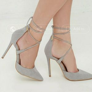 Lulus Grey Suede Lace Up Pointed Toe Pumps Sz 8